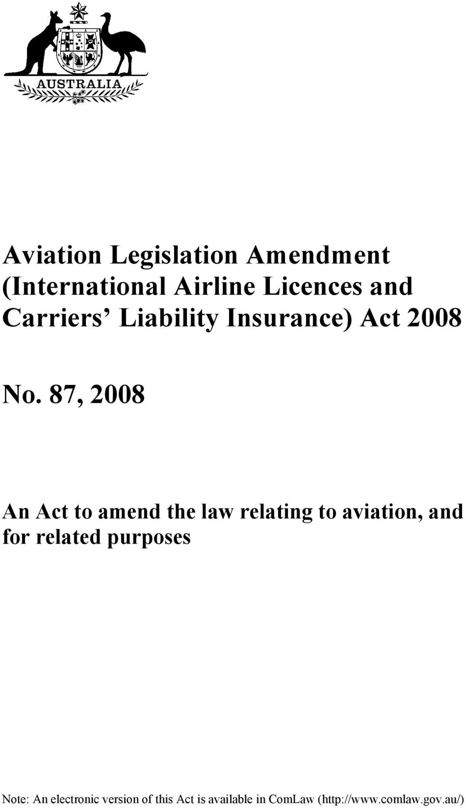 87, 2008 An Act to amend the law relating to aviation, and for