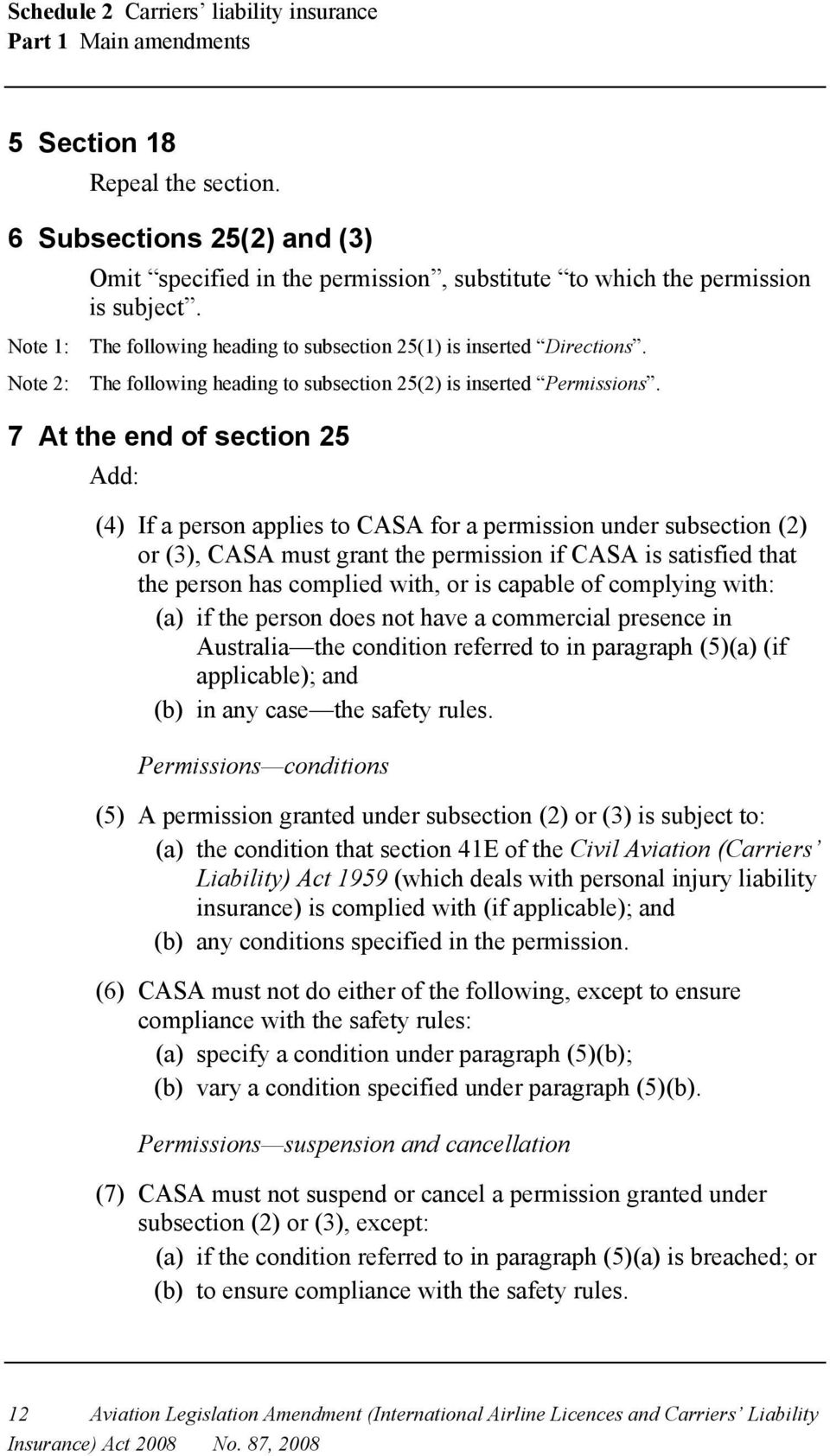 Note 2: The following heading to subsection 25(2) is inserted Permissions.