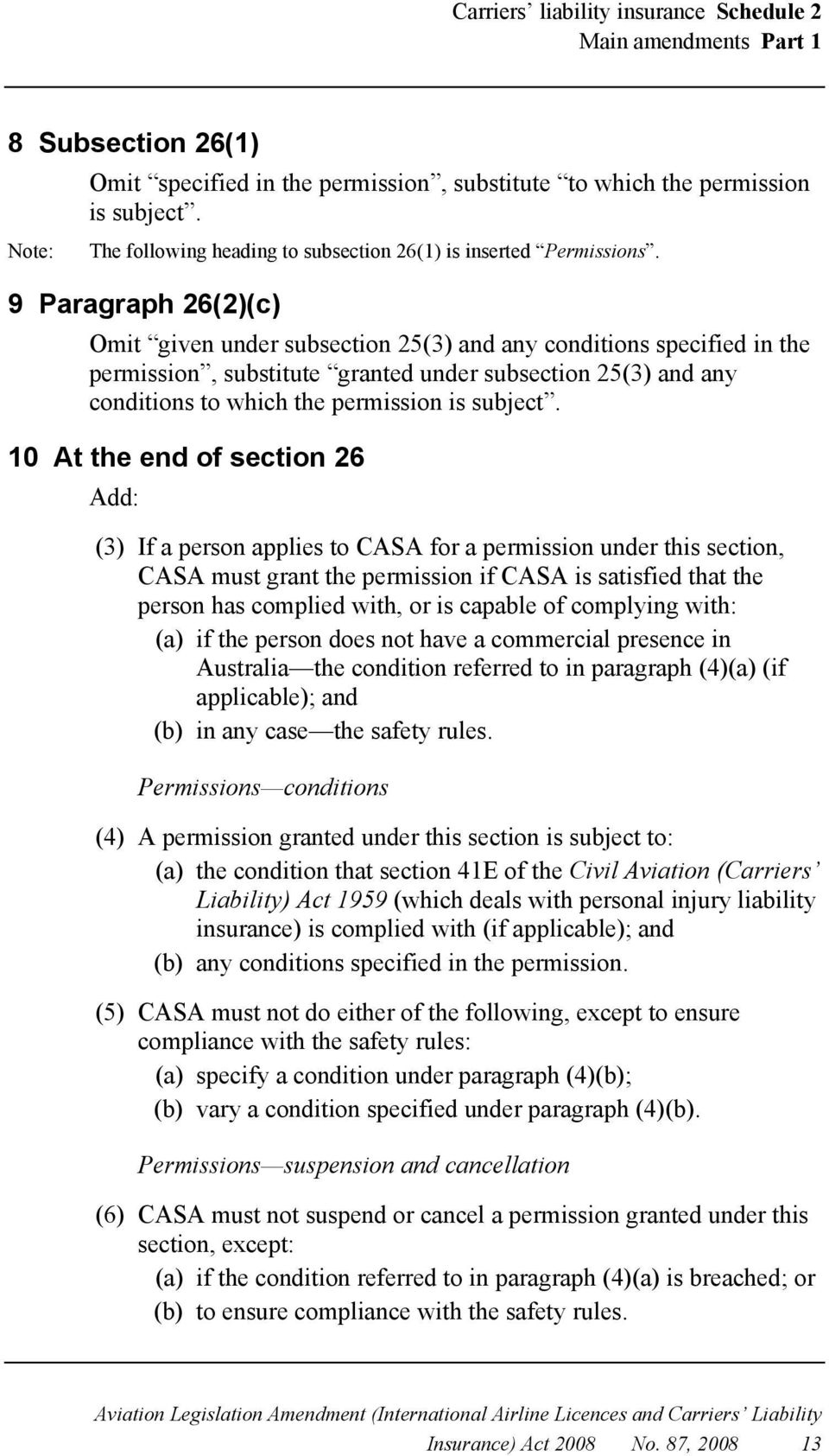 9 Paragraph 26(2)(c) Omit given under subsection 25(3) and any conditions specified in the permission, substitute granted under subsection 25(3) and any conditions to which the permission is subject.