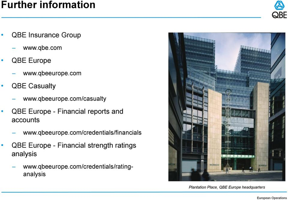 com/casualty QBE Europe - Financial reports and accounts www.qbeeurope.
