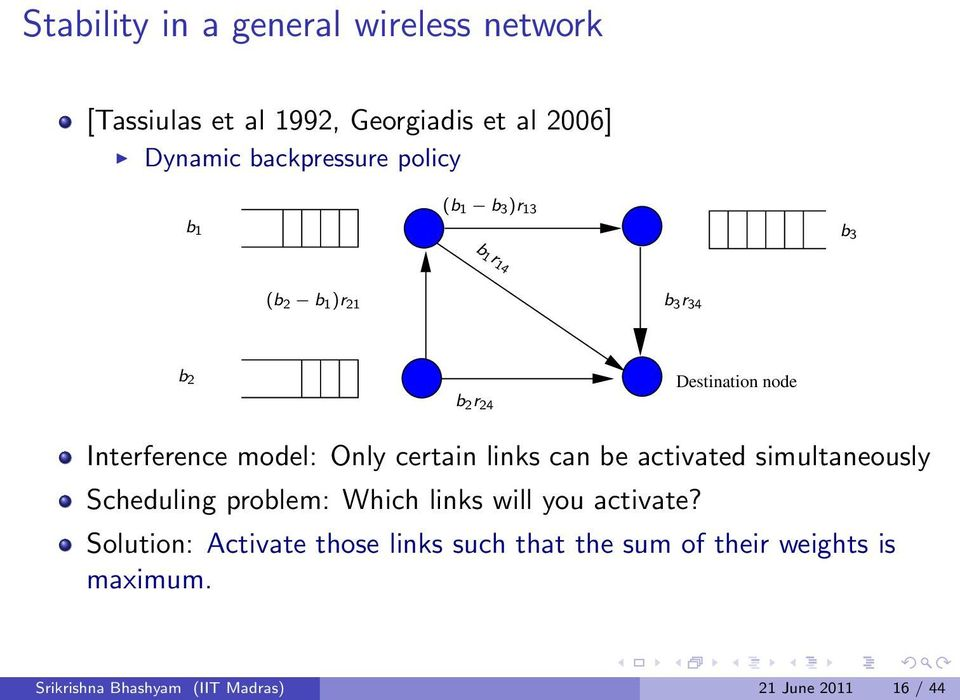 certain links can be activated simultaneously Scheduling problem: Which links will you activate?