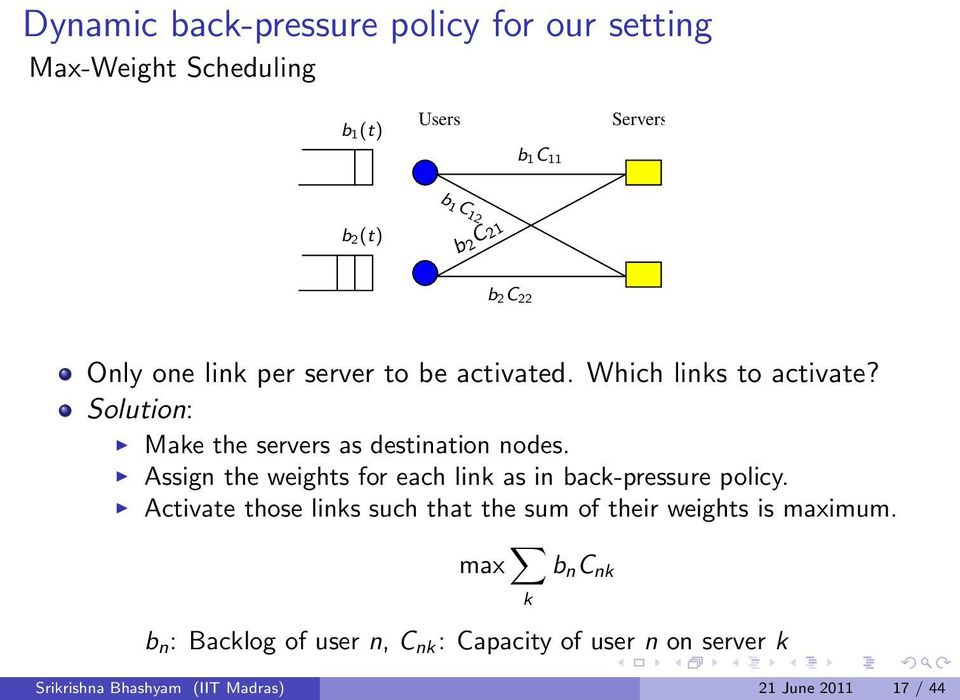 Assign the weights for each link as in back-pressure policy.