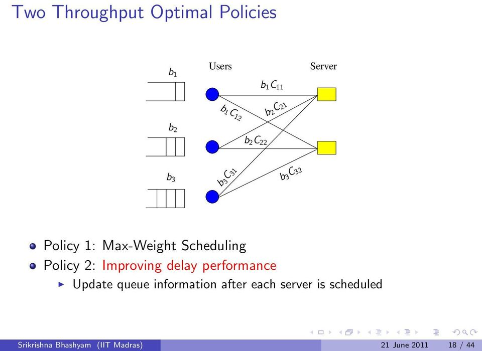 Policy 2: Improving delay performance Update queue information after