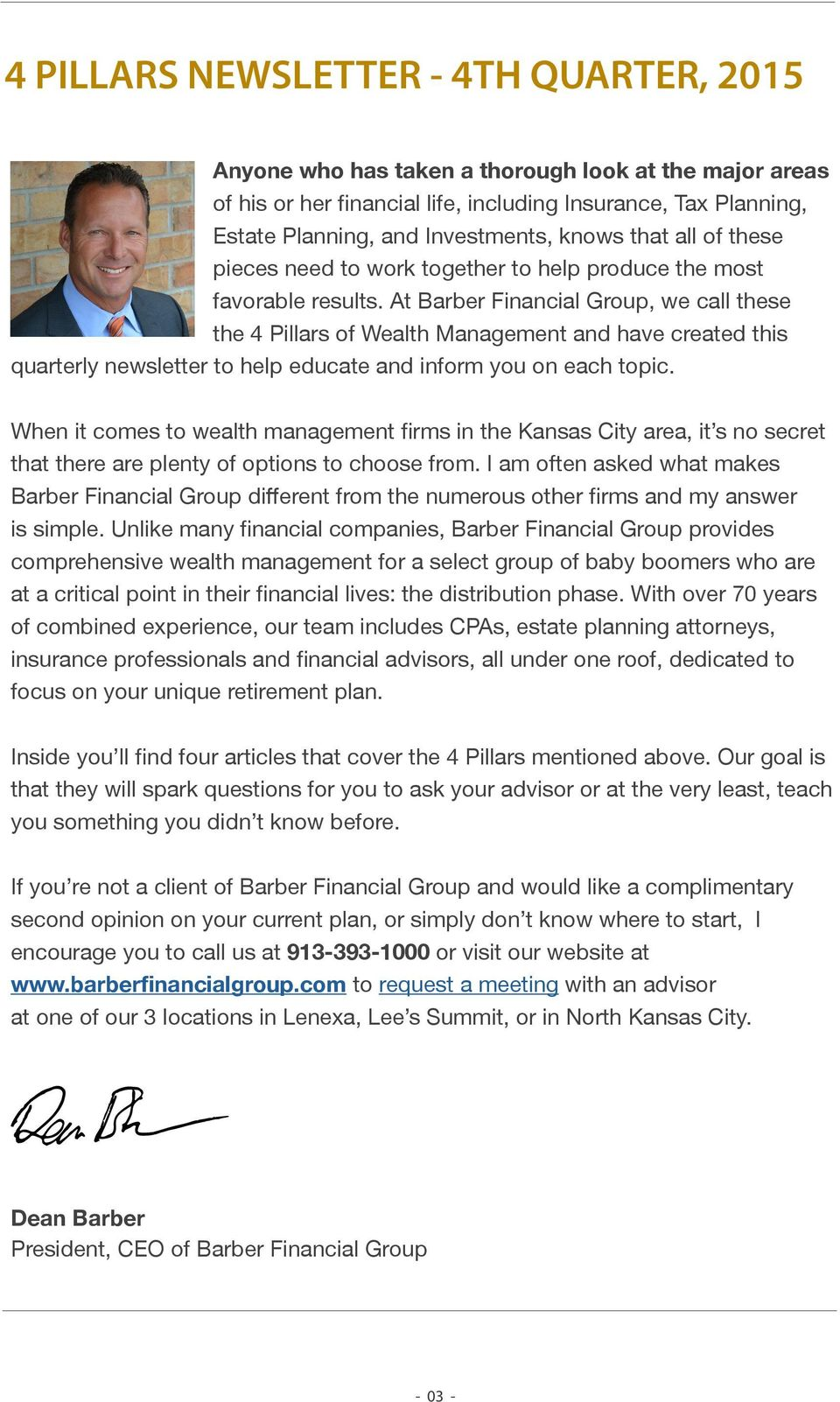Barber Financial : At Barber Financial Group, we call these the 4 Pillars of Wealth ...