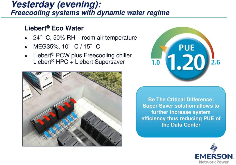 chiller Liebert HPC + Liebert Supersaver Be The Critical Difference: Super Saver