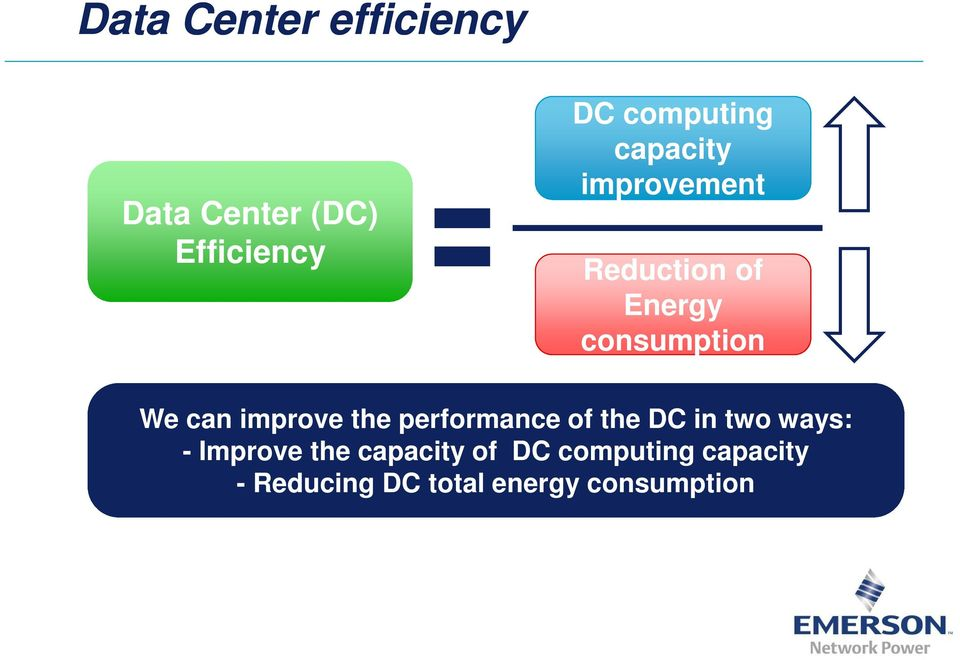 improve the performance of the DC in two ways: - Improve the