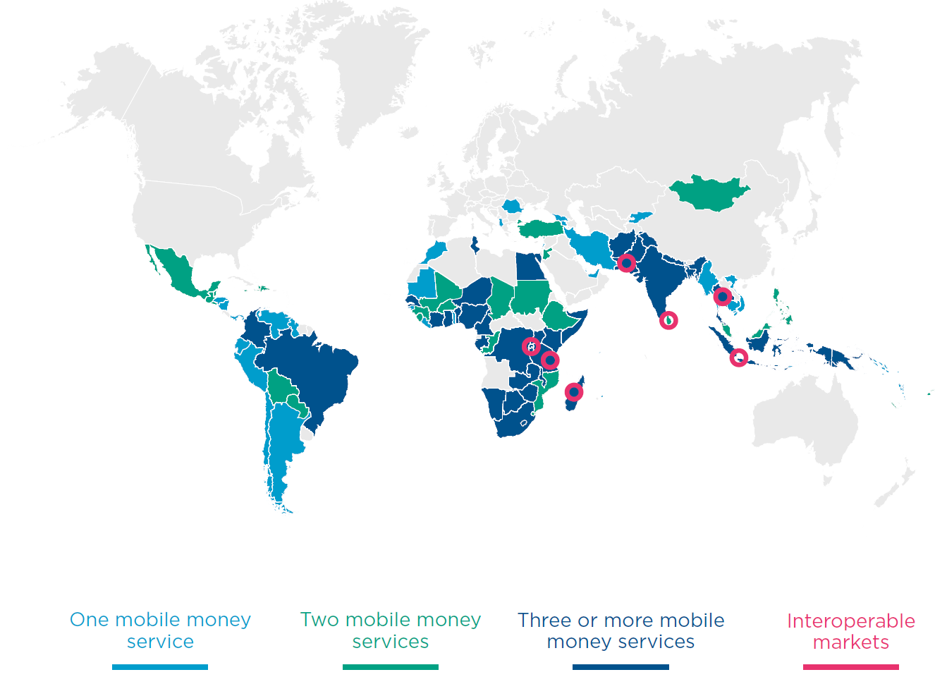 Mobile Money Market Situation in 2015 65% markets have 2 or more live services (60 out of 93 countries).