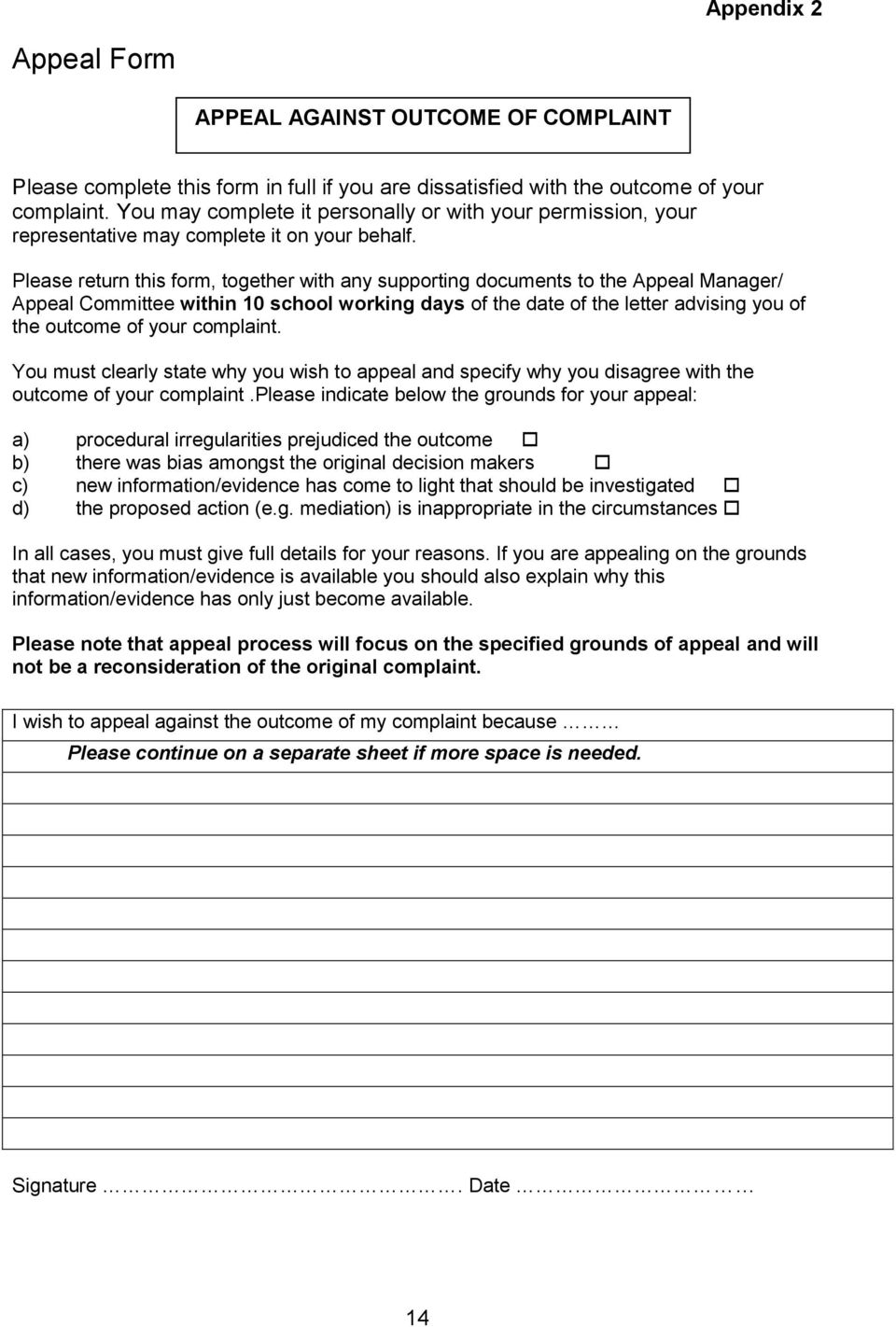 Grievance bullying and harassment policy and procedure pdf for Grievance outcome letter template