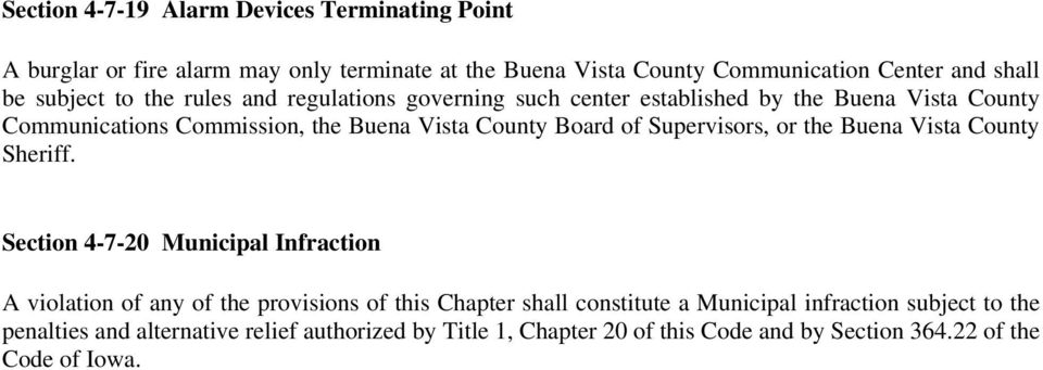 of Supervisors, or the Buena Vista County Sheriff.