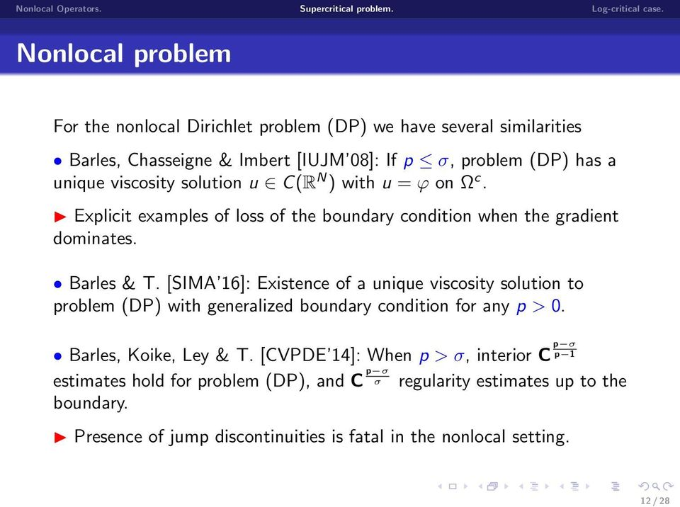 [SIMA 16]: Existence of a unique viscosity solution to problem (DP) with generalized boundary condition for any p > 0. Barles, Koike, Ley & T.