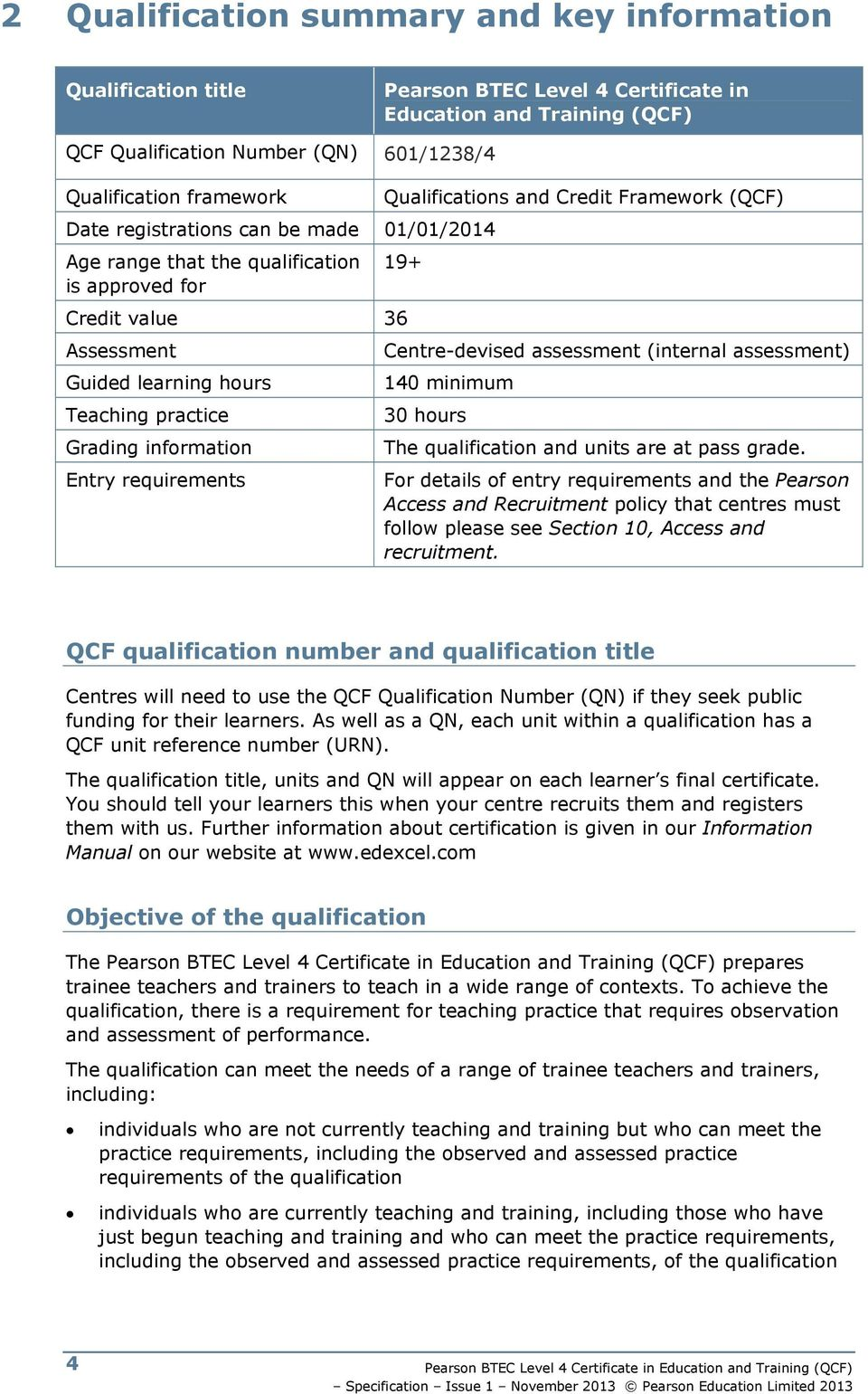Grading information Entry requirements Centre-devised assessment (internal assessment) 140 minimum 30 hours The qualification and units are at pass grade.
