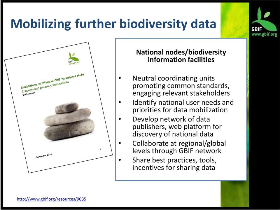 mobilization Develop network of data publishers, web platform for discovery of national data Collaborate at