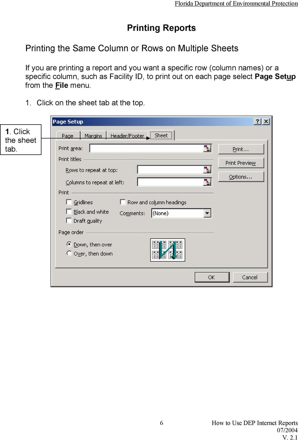 such as Facility ID, to print out on each page select Page Setup from the File menu.