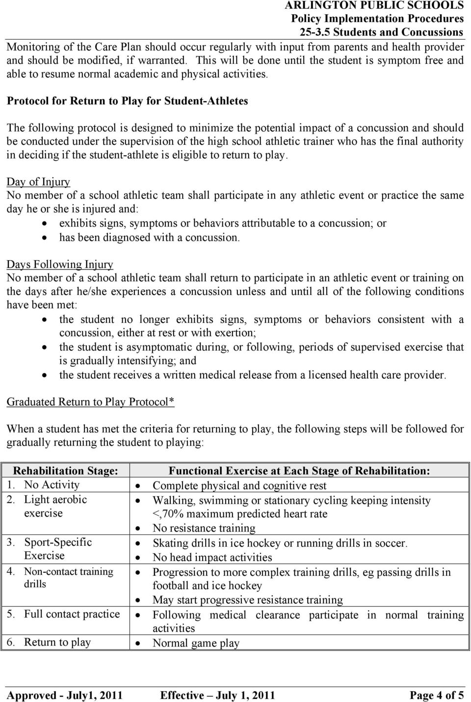 Protocol for Return to Play for Student-Athletes The following protocol is designed to minimize the potential impact of a concussion and should be conducted under the supervision of the high school