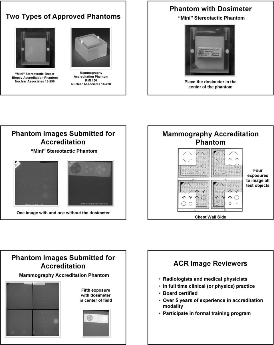 One image with and one without the dosimeter Chest Wall Side Phantom Images Submitted for Mammography Phantom Fifth exposure with dosimeter in center of field ACR Image Reviewers