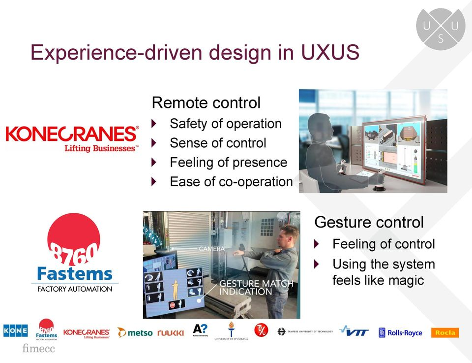 presence Ease of co-operation Gesture control