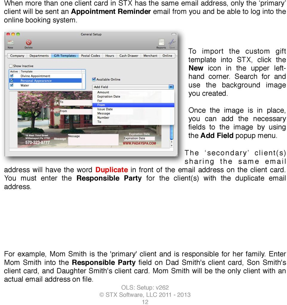 Once the image is in place, you can add the necessary fields to the image by using the Add Field popup menu.