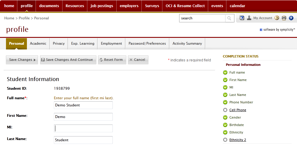 I. NAVIGATING THE HOME PAGE On the home page you can view recent announcements, alerts and various employer postings.
