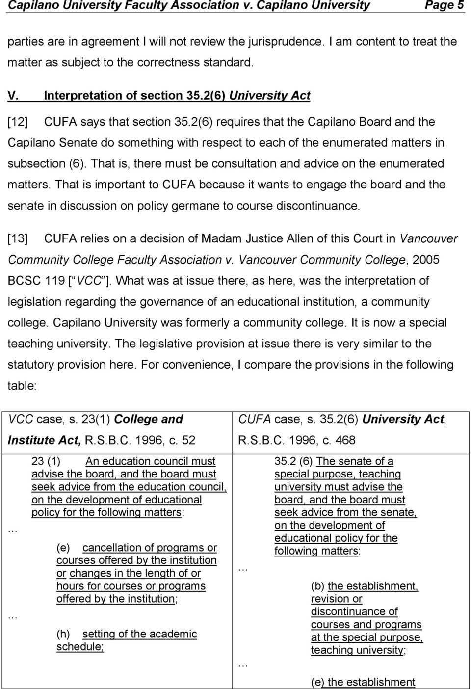 2(6) requires that the Capilano Board and the Capilano Senate do something with respect to each of the enumerated matters in subsection (6).