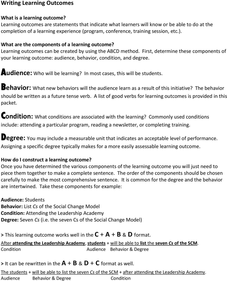 What are the components of a learning outcome? Learning outcomes can be created by using the ABCD method.