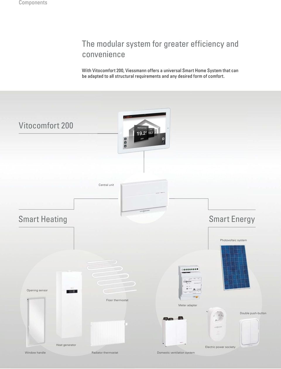 Vitocomfort 200 Central unit Smart Heating Smart Energy Photovoltaic system Opening sensor Floor thermostat Meter