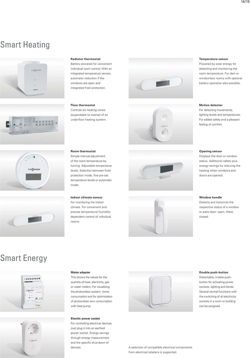 Temperature sensor Powered by solar energy for detecting and monitoring the room temperature. For dark or windowless rooms with optional battery operation also possible.