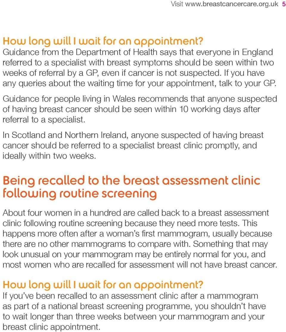 If you have any queries about the waiting time for your appointment, talk to your GP.