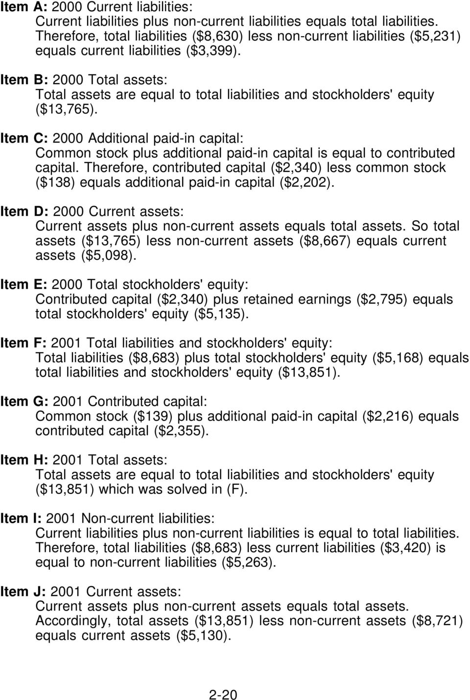 Item B: 2000 Total assets: Total assets are equal to total liabilities and stockholders' equity ($13,765).