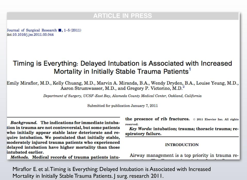 Intubation is Associated with Increased