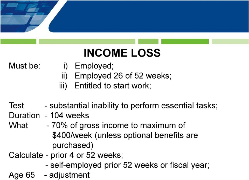 70% of gross income to maximum of $400/week (unless optional benefits are purchased)