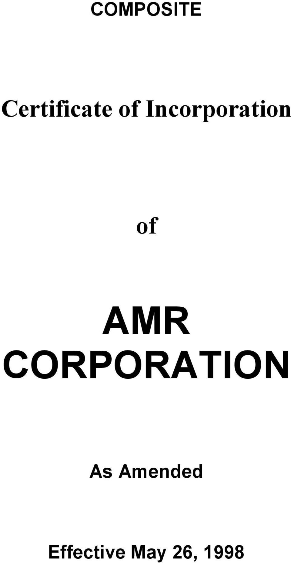AMR CORPORATION As