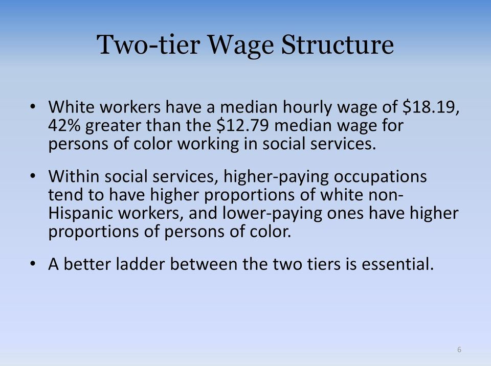 Within social services, higher-paying occupations tend to have higher proportions of white non-