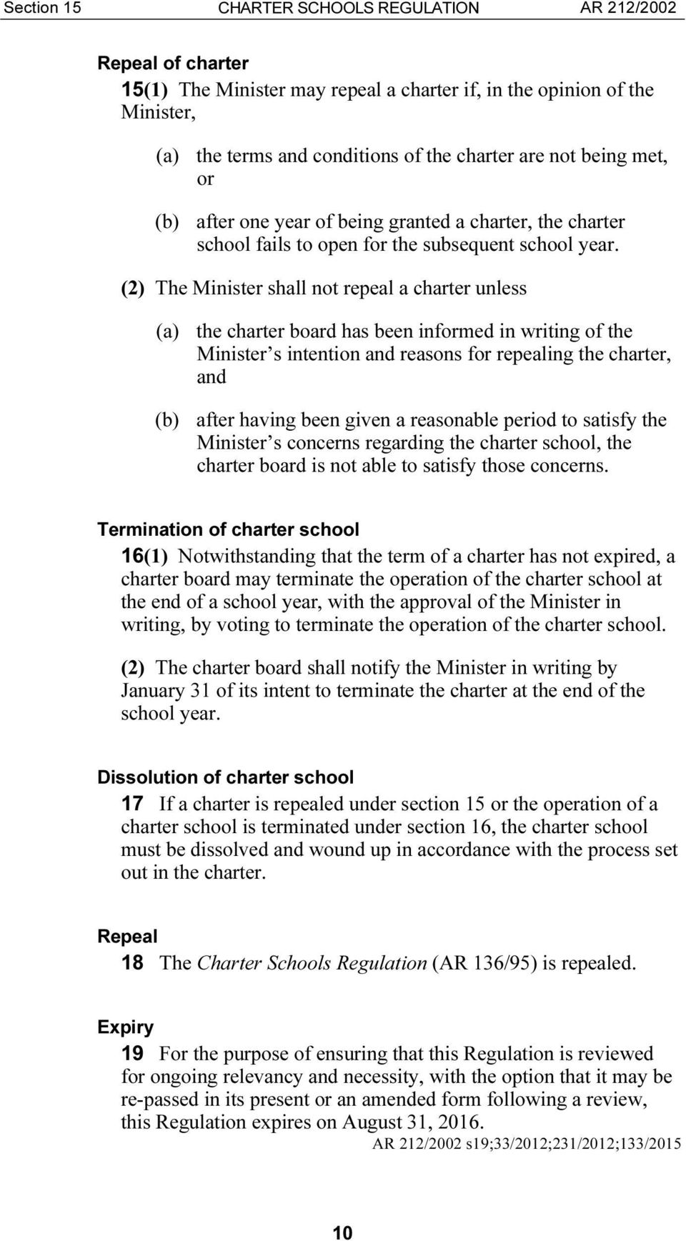 (2) The Minister shall not repeal a charter unless (a) the charter board has been informed in writing of the Minister s intention and reasons for repealing the charter, and (b) after having been