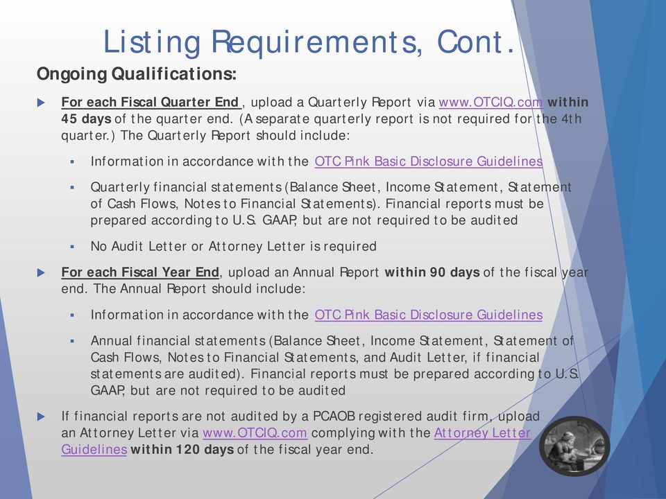 ) The Quarterly Report should include: Information in accordance with the OTC Pink Basic Disclosure Guidelines Quarterly financial statements (Balance Sheet, Income Statement, Statement of Cash