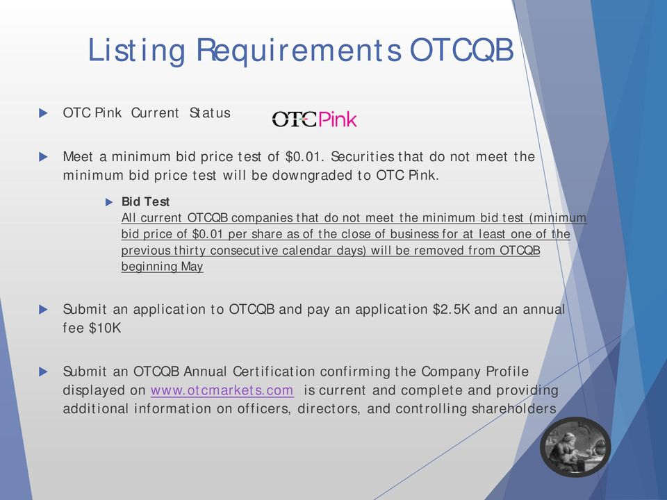 01 per share as of the close of business for at least one of the previous thirty consecutive calendar days) will be removed from OTCQB beginning May Submit an application to OTCQB