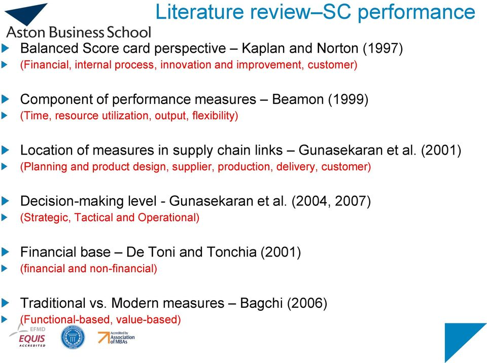 (2001) (Planning and product design, supplier, production, delivery, customer) Decision-making level - Gunasekaran et al.