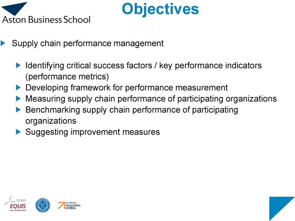 measurement Measuring supply chain performance of participating organizations