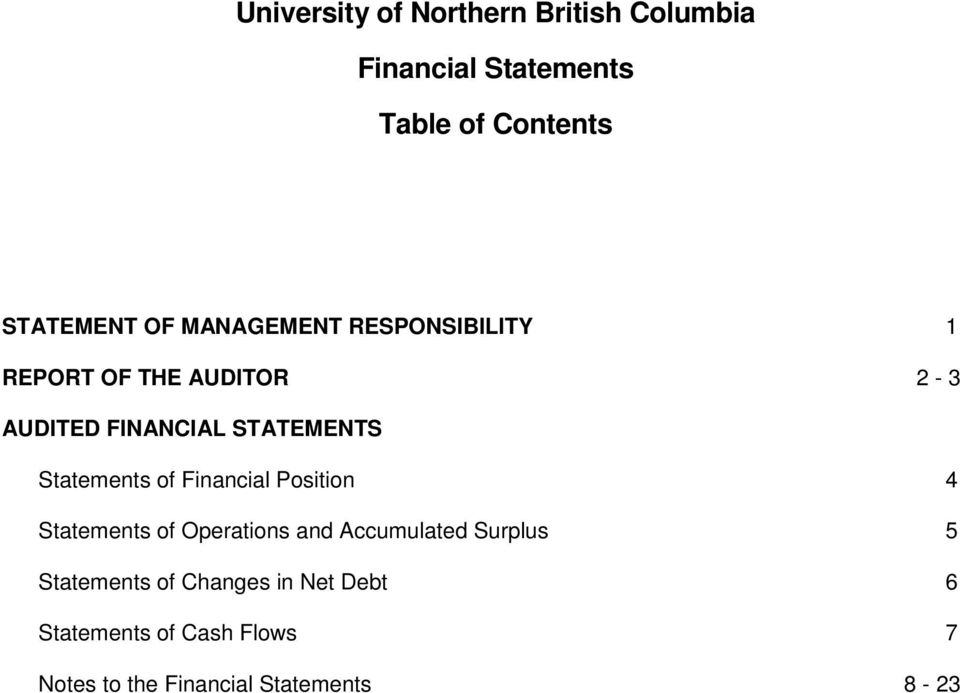 Statements of Financial Position 4 Statements of Operations and Accumulated Surplus 5