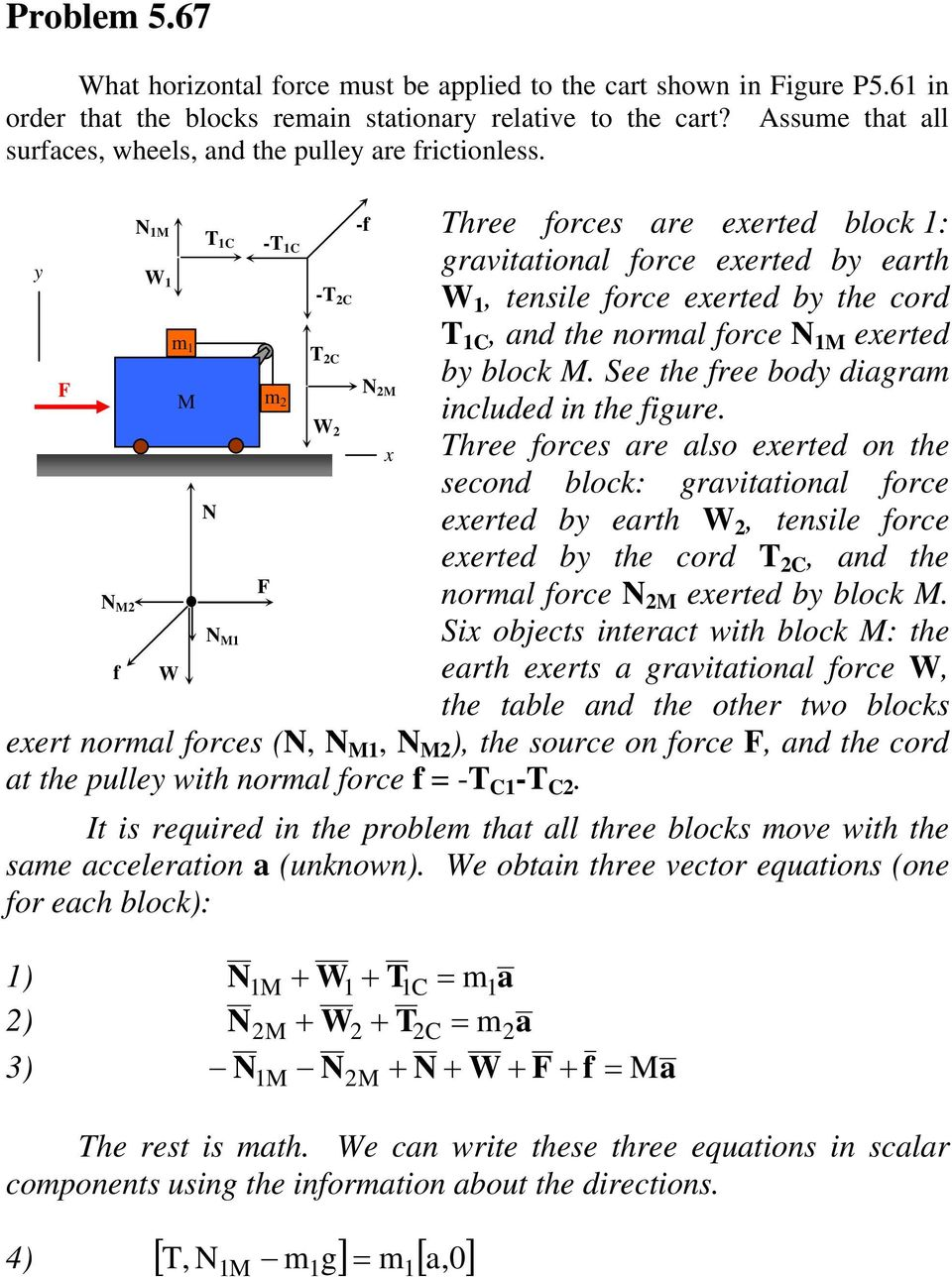 N M -f hree forces are exerted block : C - C y gravitational force exerted by earth W - C W, tensile force exerted by the cord m C, and the normal force N M exerted C by block M.