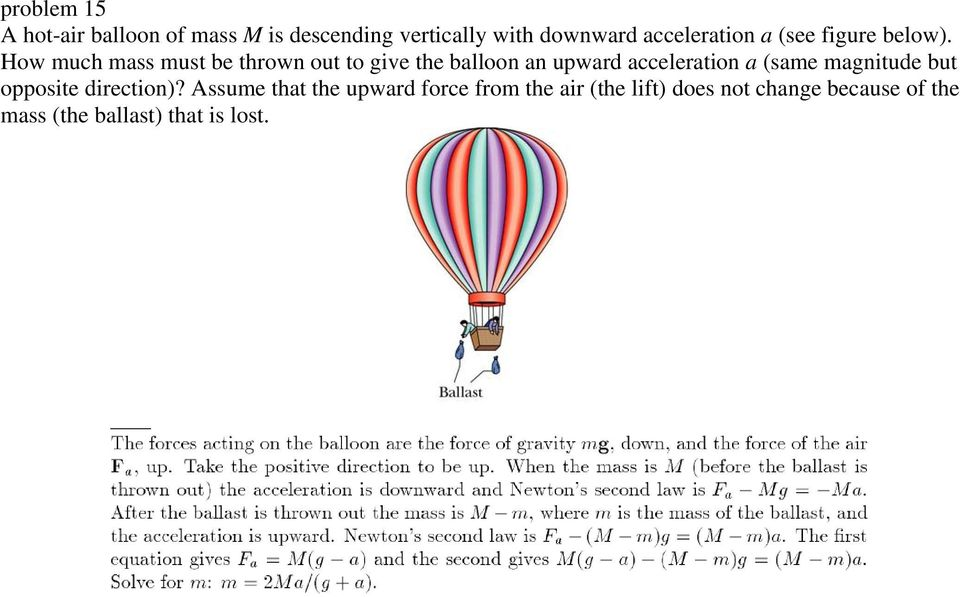 How much mass must be thrown out to give the balloon an upward acceleration a (same