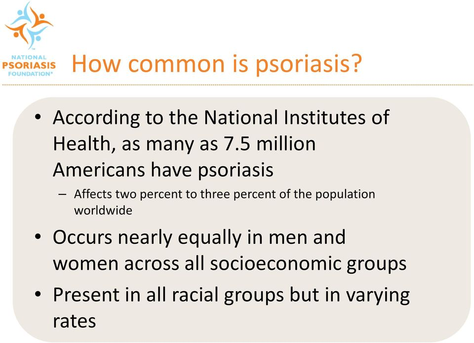 5 million Americans have psoriasis Affects two percent to three percent of