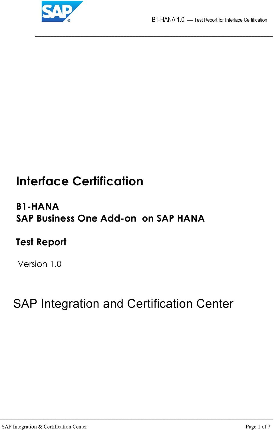 0 SAP Integration and Certification Center
