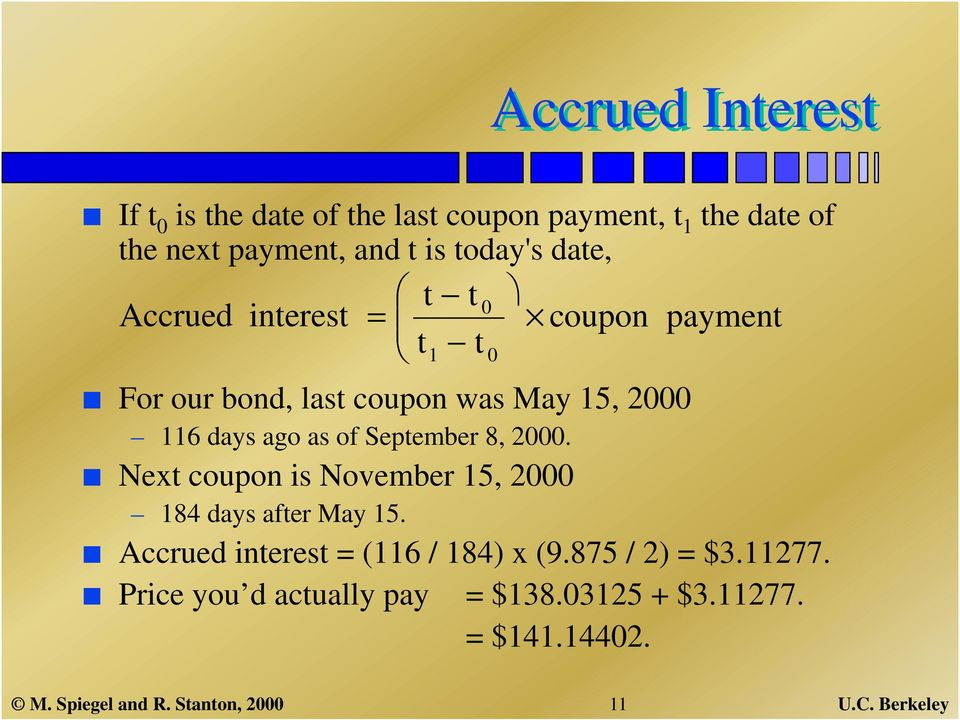 September 8, 2000. Next coupon is November 15, 2000 184 days after May 15. Accrued interest = (116 / 184) x (9.