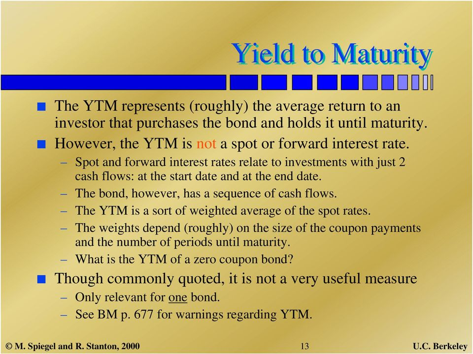 The bond, however, has a sequence of cash flows. The YTM is a sort of weighted average of the spot rates.