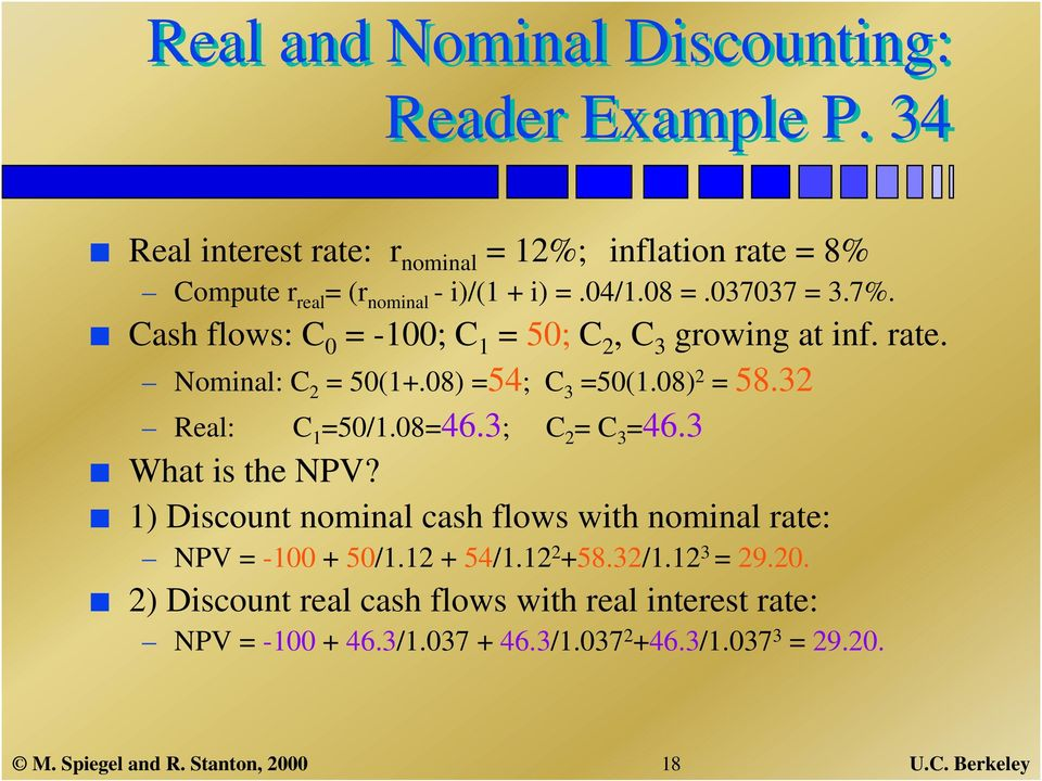32 Real: C 1 =50/1.08=46.3; C 2 = C 3 =46.3 What is the NPV? 1) Discount nominal cash flows with nominal rate: NPV = -100 + 50/1.12 + 54/1.12 2 +58.