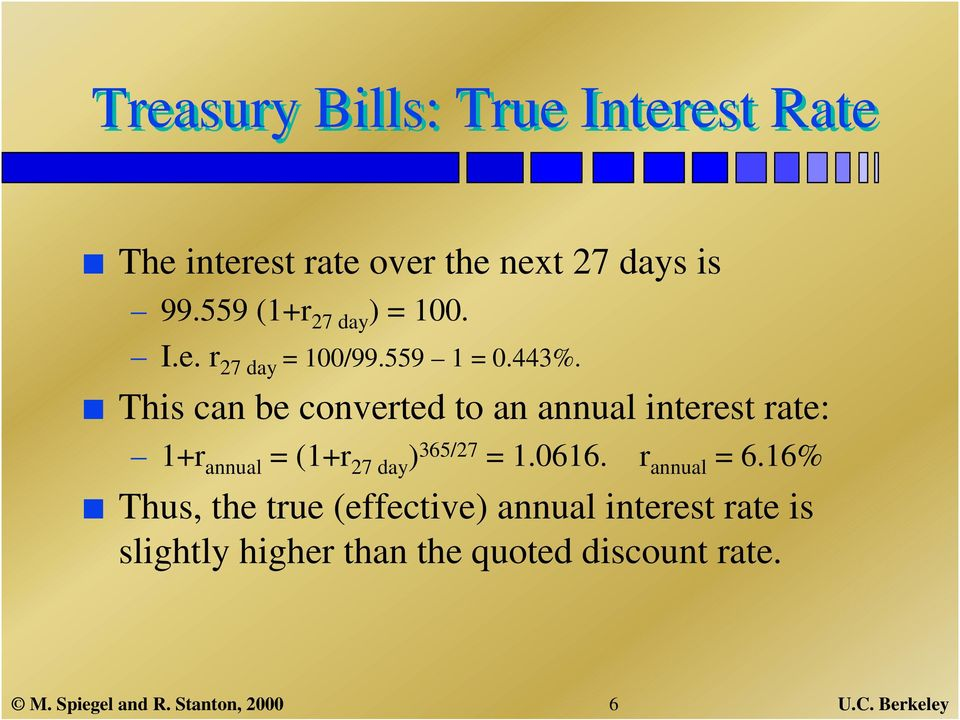 This can be converted to an annual interest rate: 1+r annual = (1+r 27 day ) 365/27 = 1.0616.
