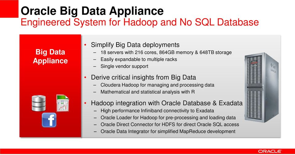 Mathematical and statistical analysis with R Hadoop integration with Oracle Database & Exadata High performance Infiniband connectivity to Exadata Oracle Loader