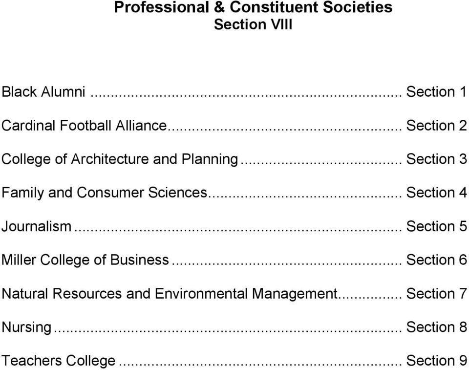 .. Section 3 Family and Consumer Sciences... Section 4 Journalism.