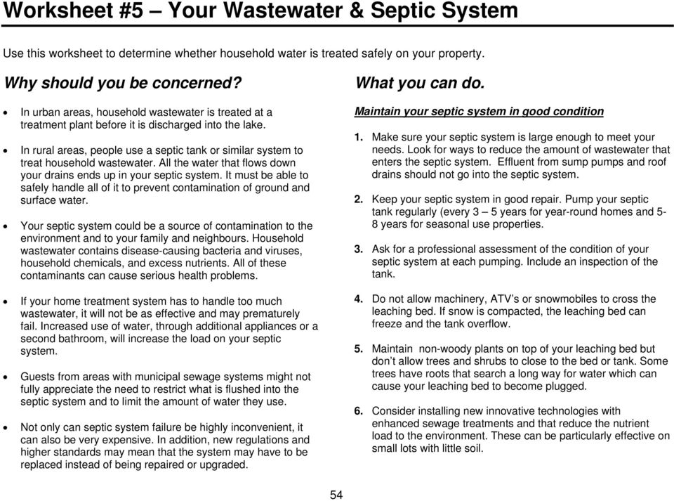 All the water that flows down your drains ends up in your septic system. It must be able to safely handle all of it to prevent contamination of ground and surface water.