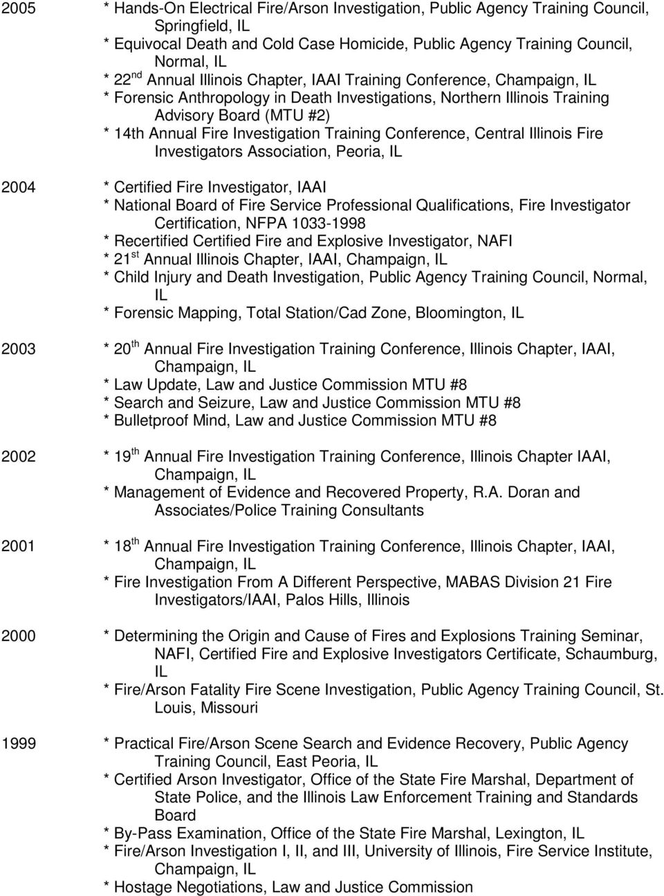 Investigators 2004 * Certified Fire Investigator, IAAI * National Board of Fire Service Professional Qualifications, Fire Investigator Certification, NFPA 1033-1998 * Recertified Certified Fire and